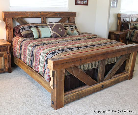 Old Wood Bed (Pinterest)